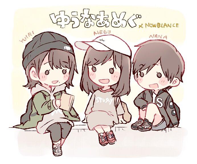 murayama yuiri, okada nana, and taniguchi megu (real life and etc) drawn by taneda yuuta