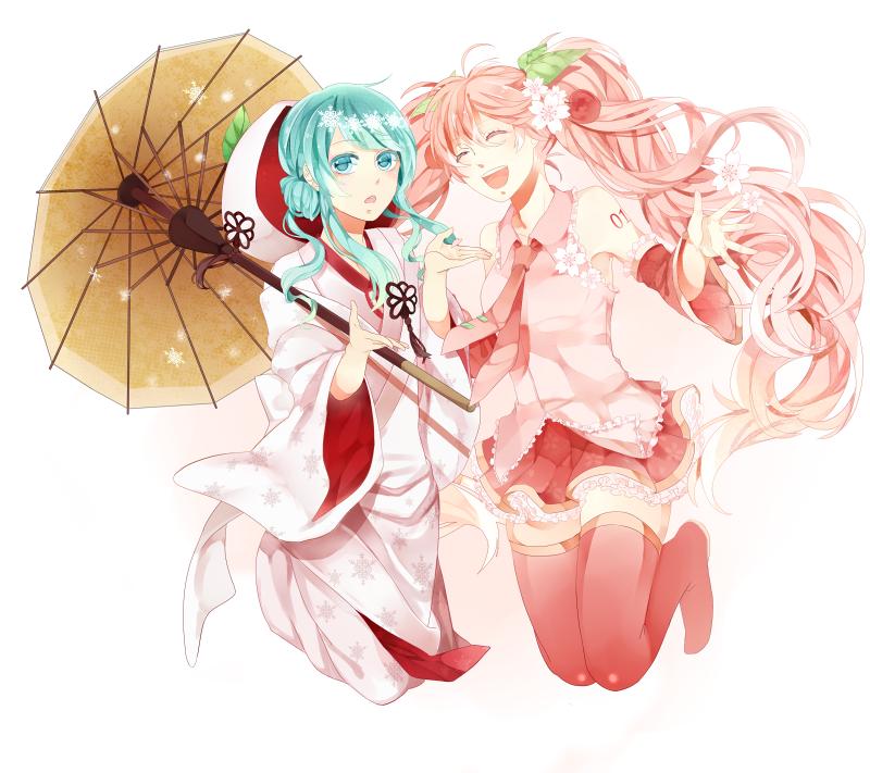 hatsune miku, sakura miku, and yuki miku (vocaloid) drawn by comaco