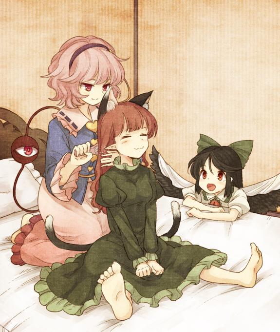 komeiji satori, reiuji utsuho, and kaenbyou rin (touhou) drawn by urin |  Danbooru