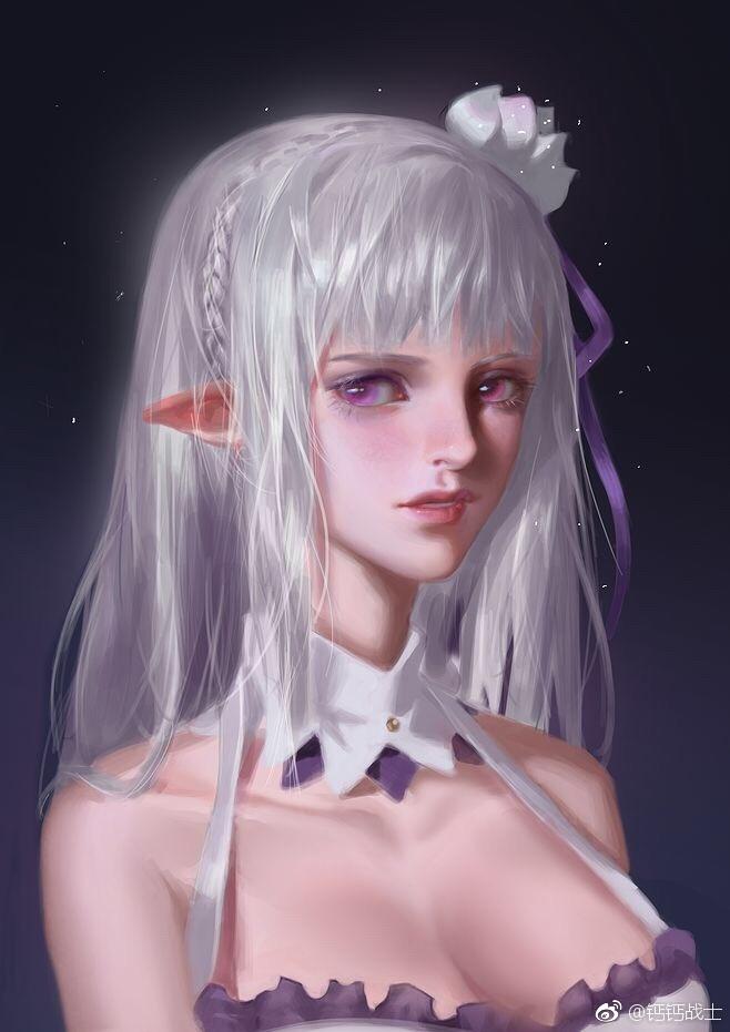 emilia (re:zero kara hajimeru isekai seikatsu) drawn by y xun