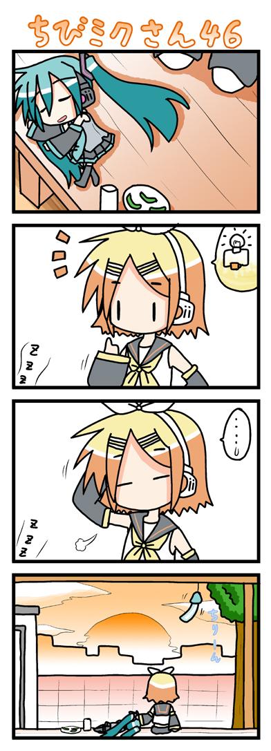 |_| 4koma chibi chibi_miku comic hatsune_miku kagamine_rin lightbulb minami_(artist) porch silent_comic sleeping summer sunset vocaloid wind_chime
