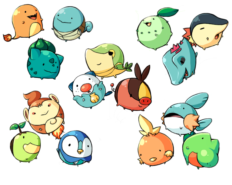 bulbasaur, charmander, chikorita, chimchar, cyndaquil, and others (pokemon) drawn by qkrwotls16