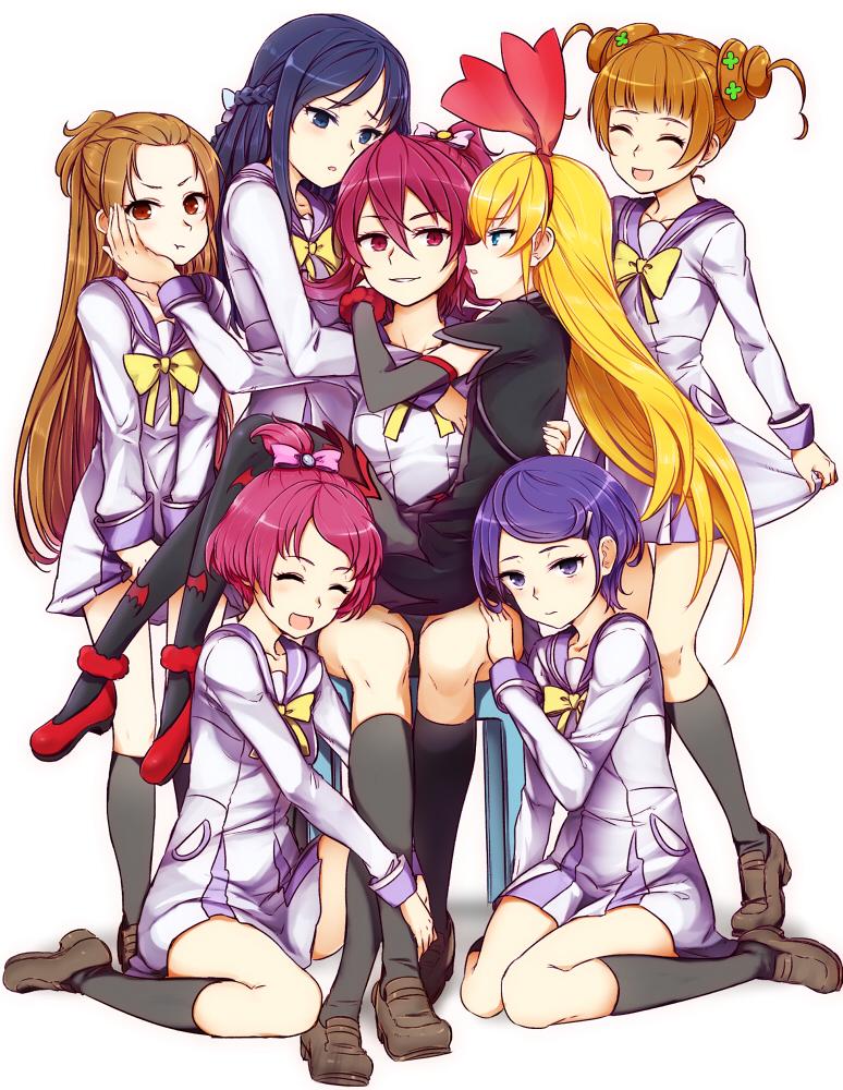 hishikawa rikka, aida mana, kenzaki makoto, yotsuba alice, regina, and 3 more (precure and 1 more) drawn by minatsuki_randoseru