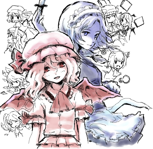cirno, daiyousei, flandre scarlet, hong meiling, izayoi sakuya, and others (the embodiment of scarlet devil and touhou) drawn by noko (iamsimply2000)