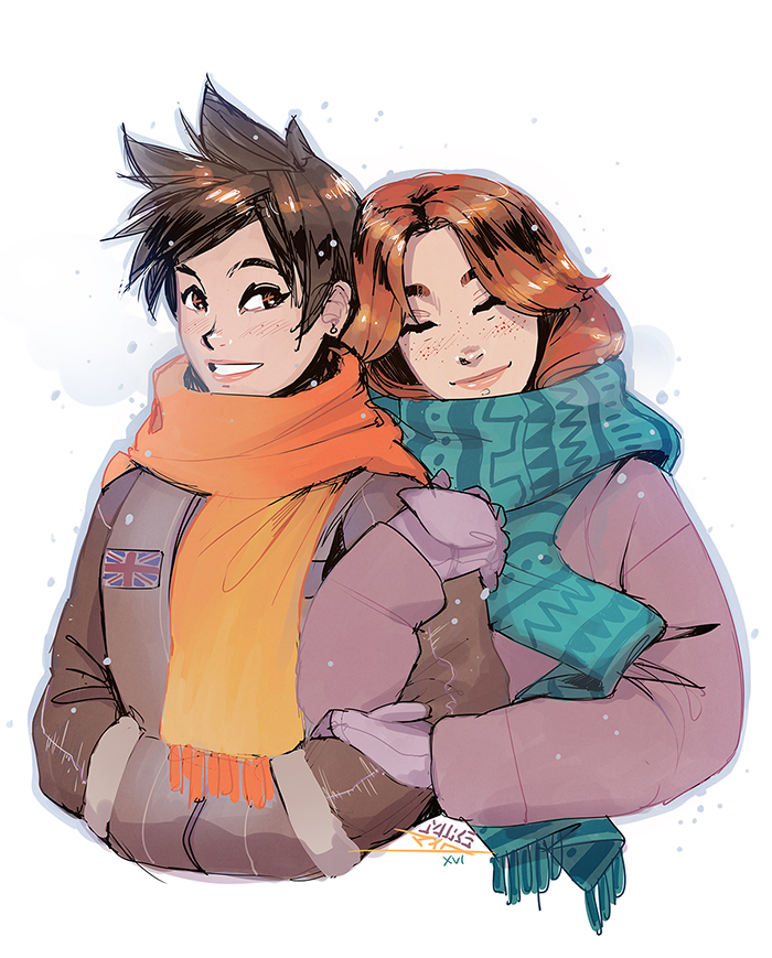 emily and tracer (overwatch) drawn by mike nesbitt