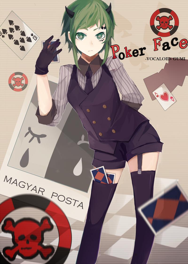 Vocaloid gumi poker face casino valise trolley abs - 70cm - 4 roues - bleu