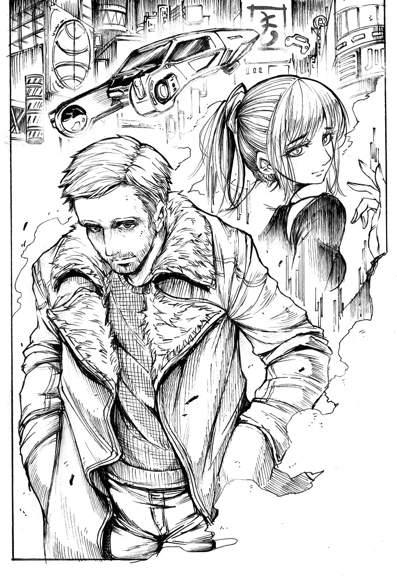 joi and k (blade runner 2049 and etc) drawn by matutoya