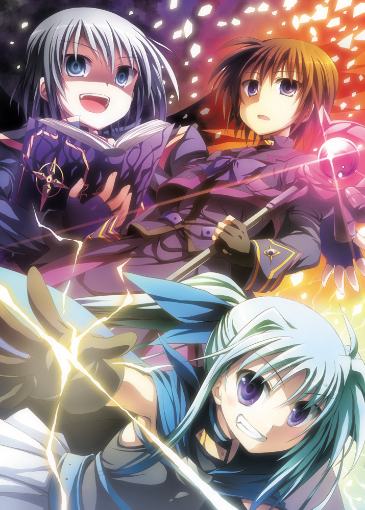 luciferion, material-d, material-l, material-s, tome of the purple sky, and others (lyrical nanoha, mahou shoujo lyrical nanoha, mahou shoujo lyrical nanoha a's, and mahou shoujo lyrical nanoha a's portable: the battle of aces) drawn by kusakami akira