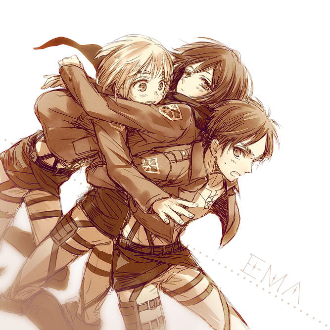 armin arlert, eren yeager, and mikasa ackerman (shingeki no kyojin) drawn by kino25 n