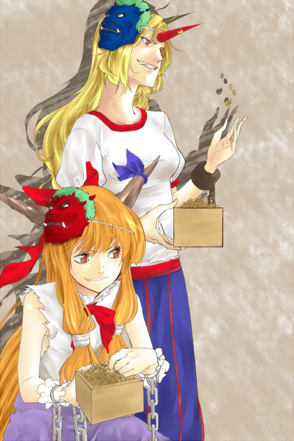ibuki suika and hoshiguma yuugi (touhou) drawn by serpens_(hebi)