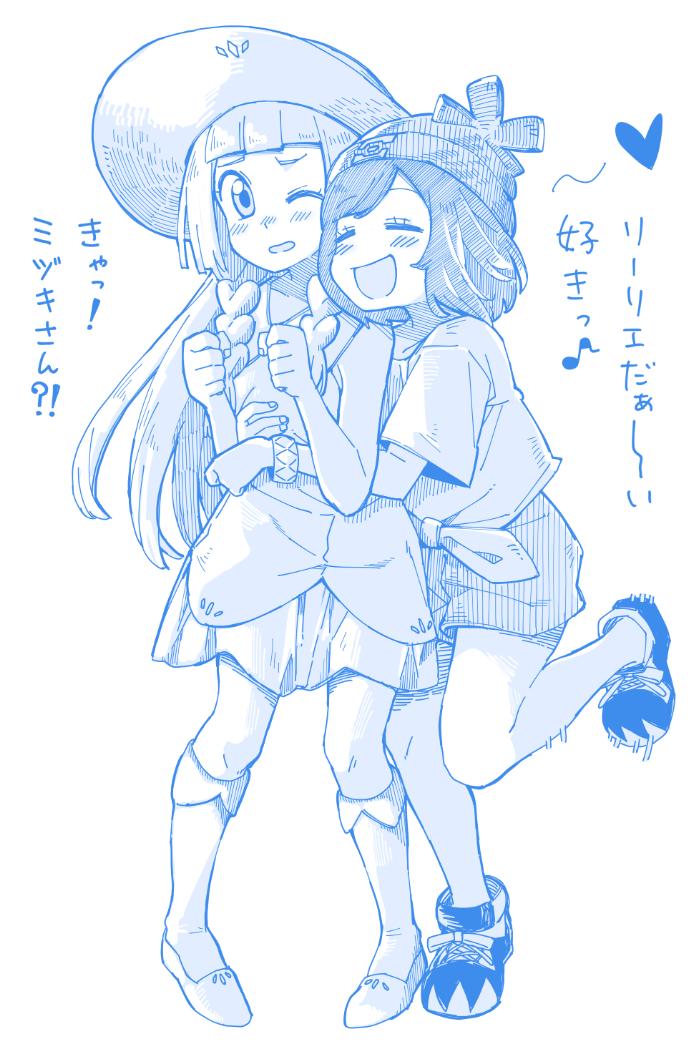 lillie and mizuki (pokemon (game) and etc) drawn by anarogumaaa