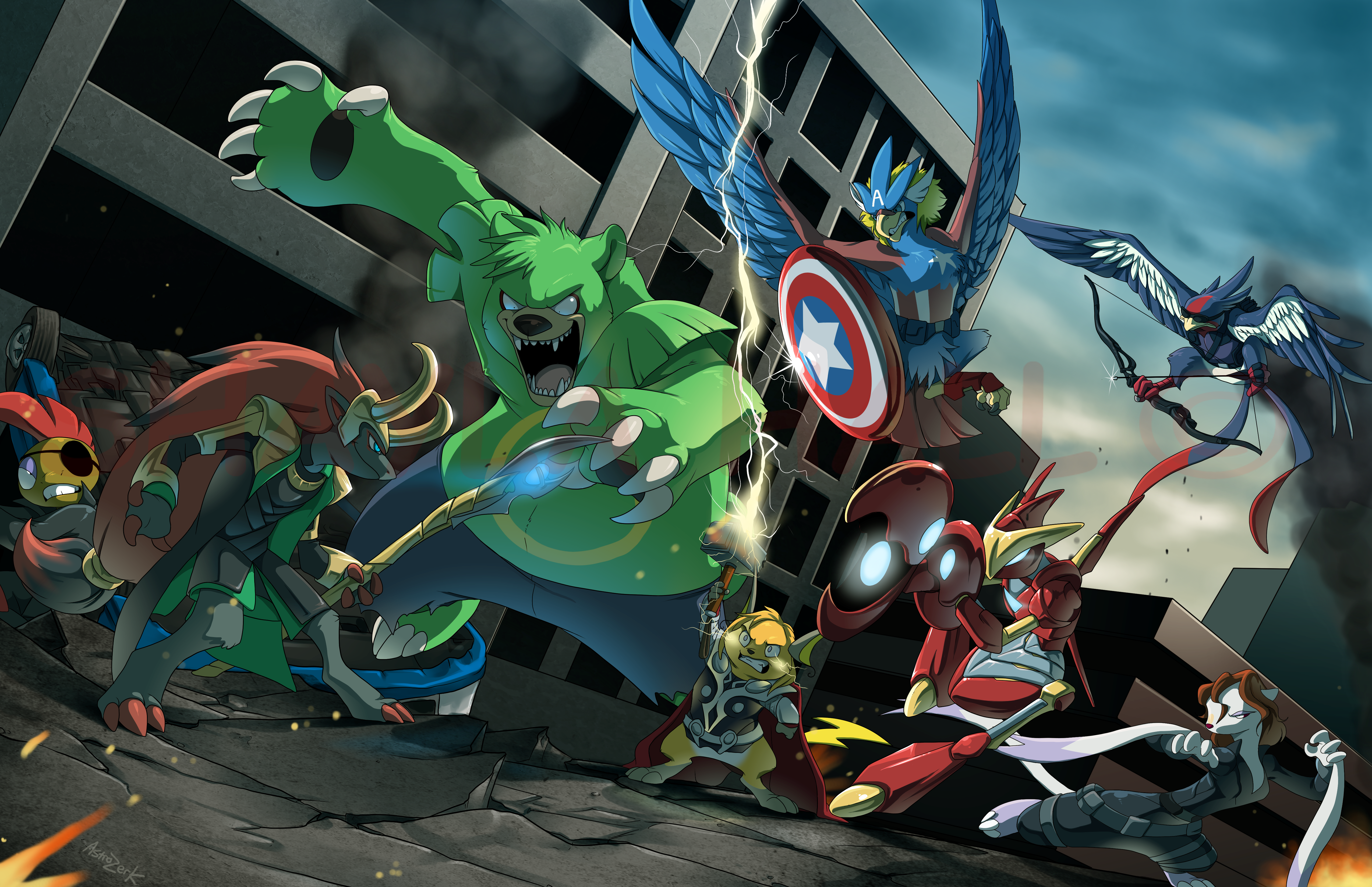 black widow, braviary, captain america, hawkeye, hulk, and others