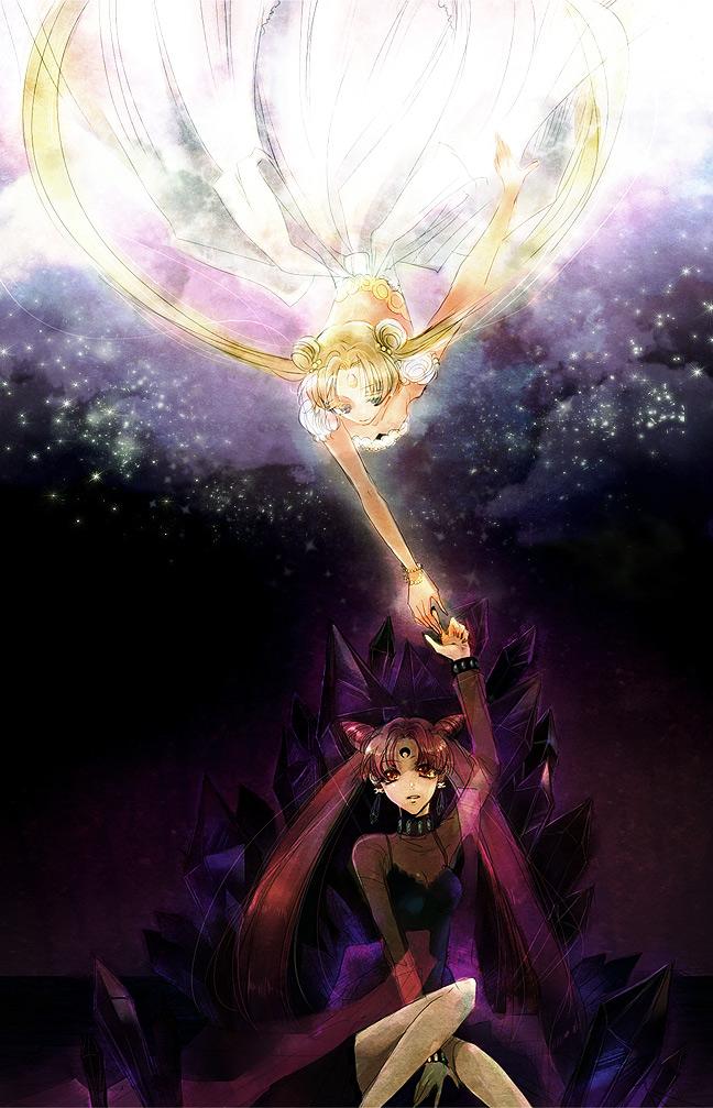 black lady, chibi usa, princess serenity, and tsukino usagi (bishoujo senshi sailor moon) drawn by dolcexxx
