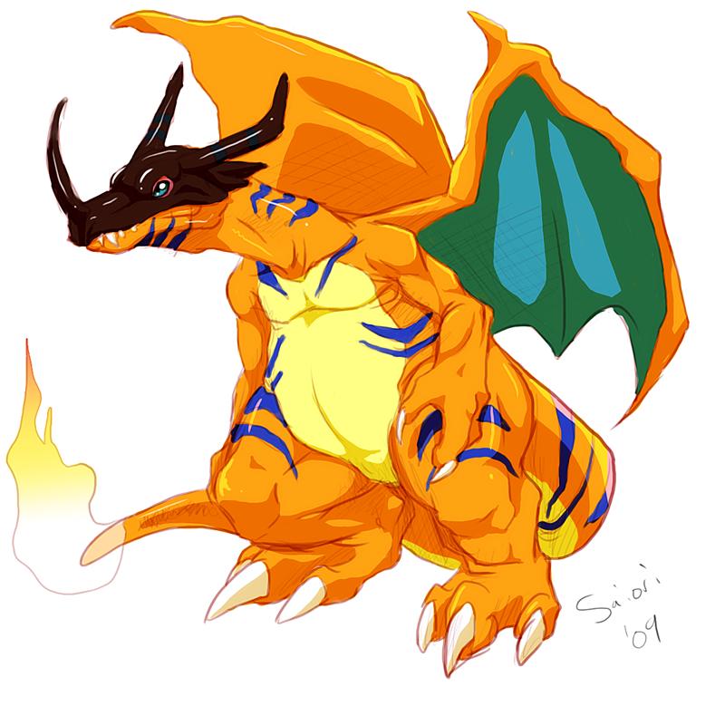 charizard and greymon (digimon and pokemon)