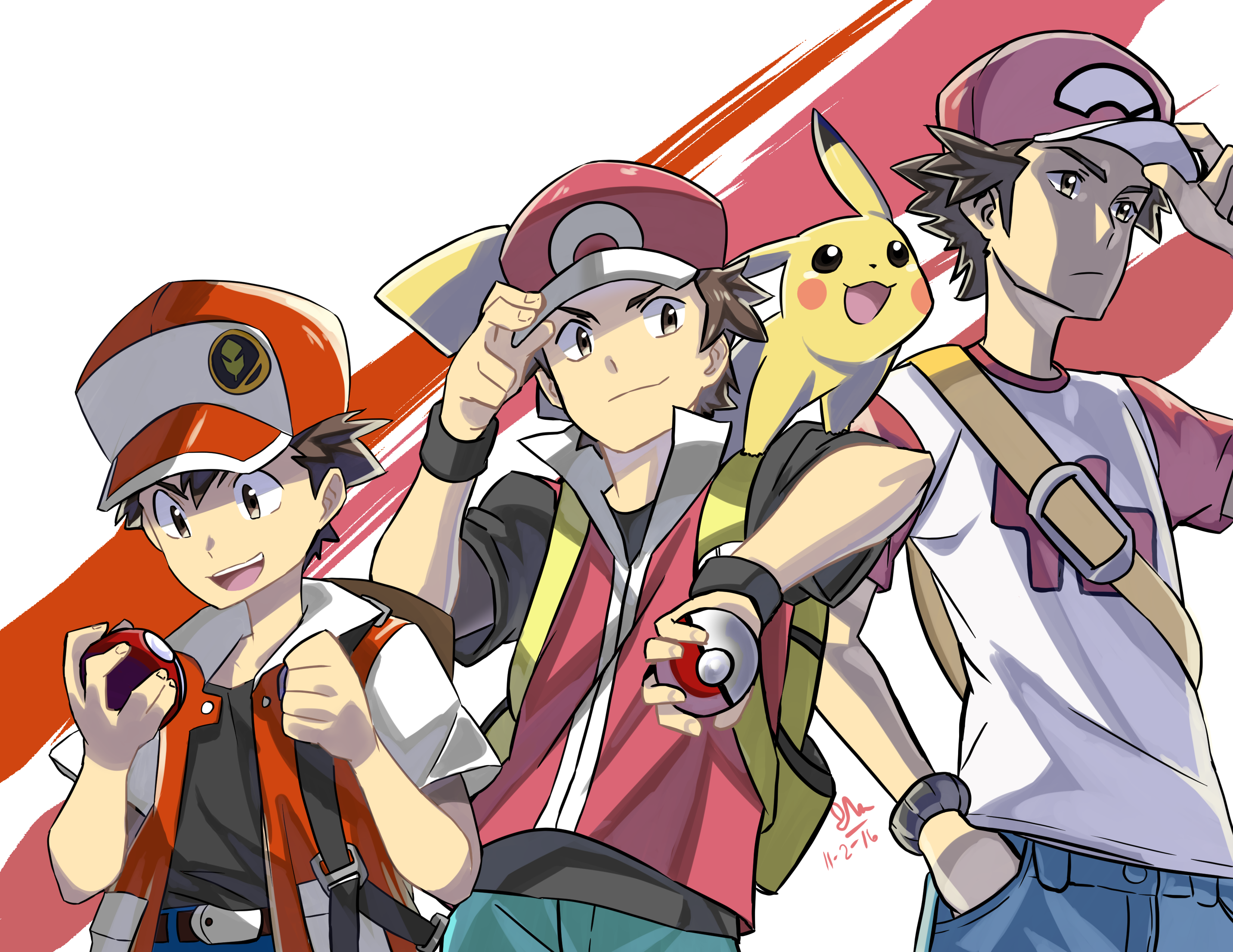 pikachu and red (pokemon (game) and etc) drawn by ishmaiah dado