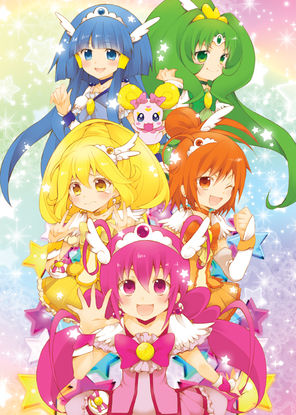 aoki reika, candy, cure beauty, cure happy, cure march, and others (precure and smile precure!) drawn by kurisu sai