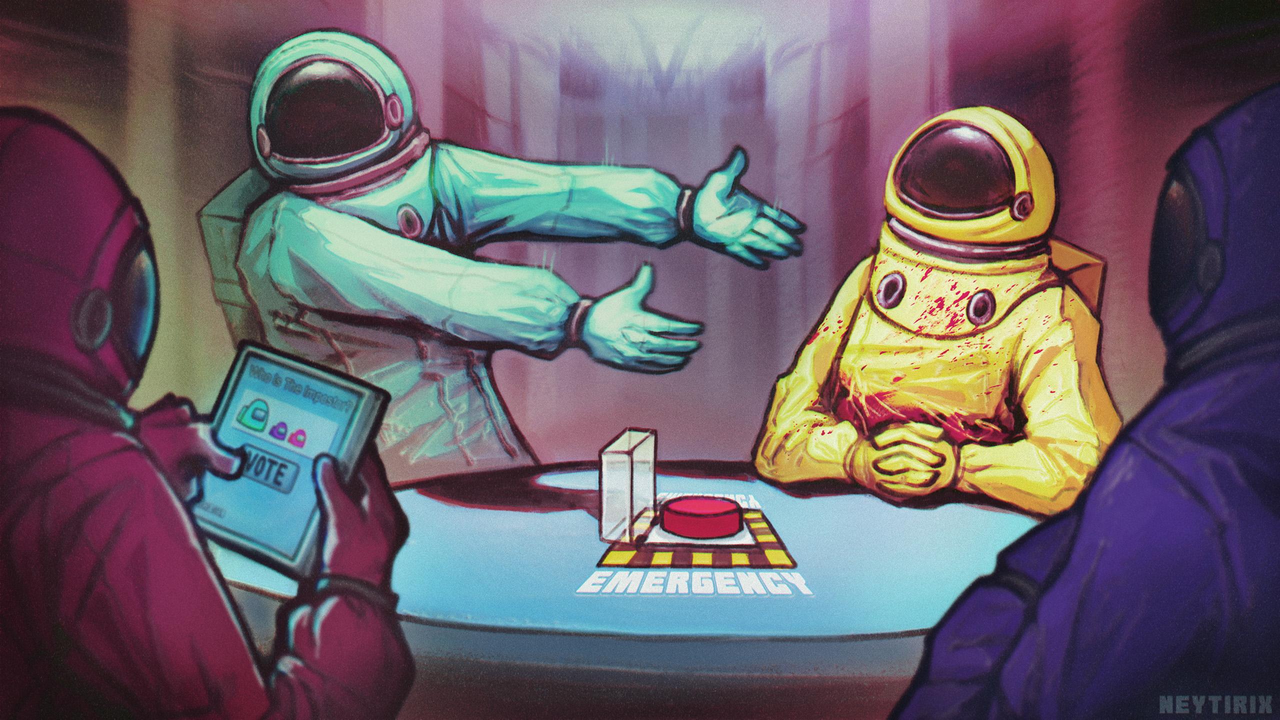 Crewmate And Impostor Among Us Drawn By Neytirix Danbooru