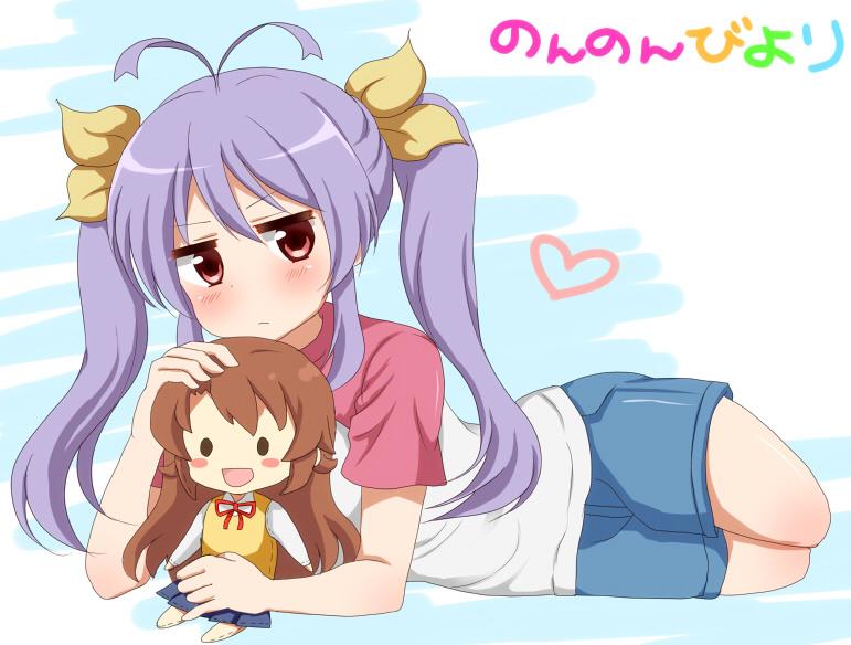 Miyauchi Renge And Koshigaya Komari Non Non Biyori Drawn By Aoba Mina Danbooru