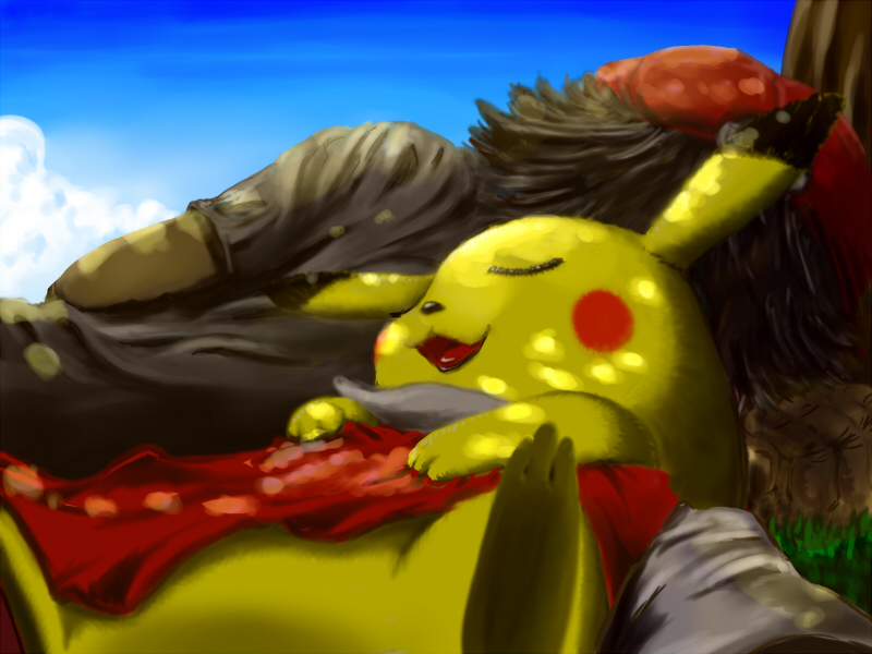 pikachu and red (pokemon and pokemon (game)) drawn by pack