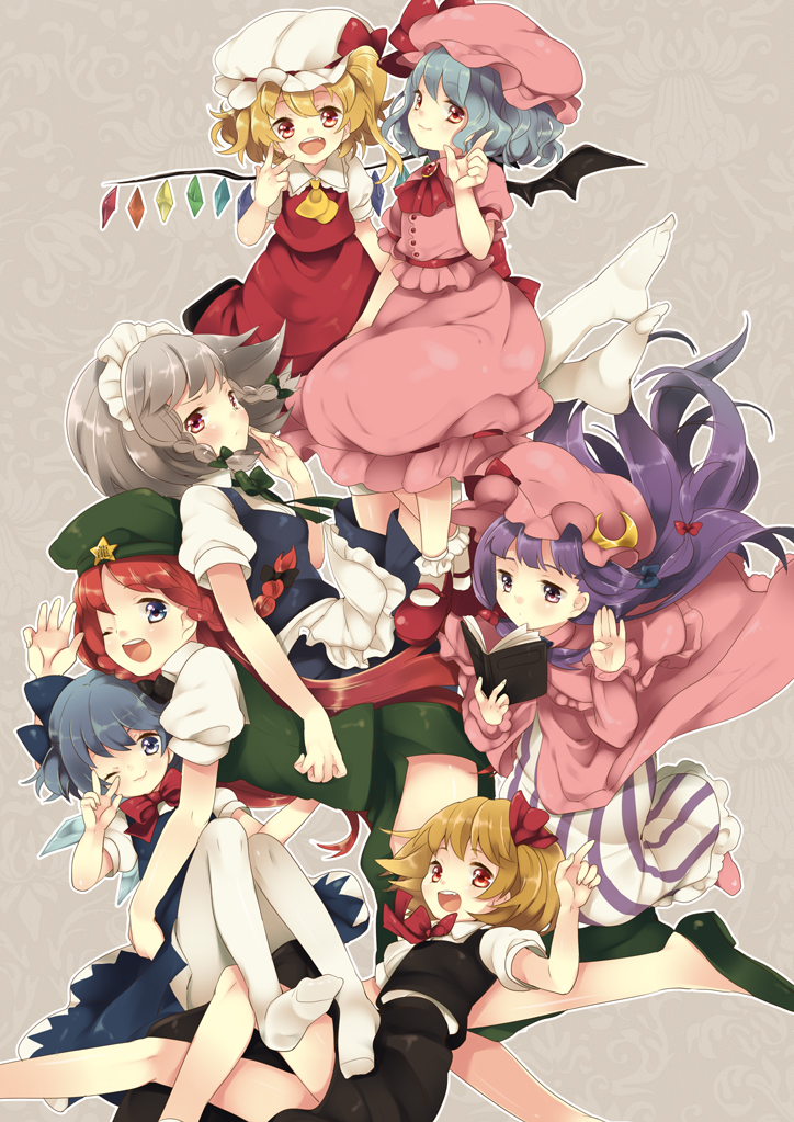 cirno, flandre scarlet, hong meiling, izayoi sakuya, patchouli knowledge, and others (the embodiment of scarlet devil and touhou) drawn by maki (natoriumu)