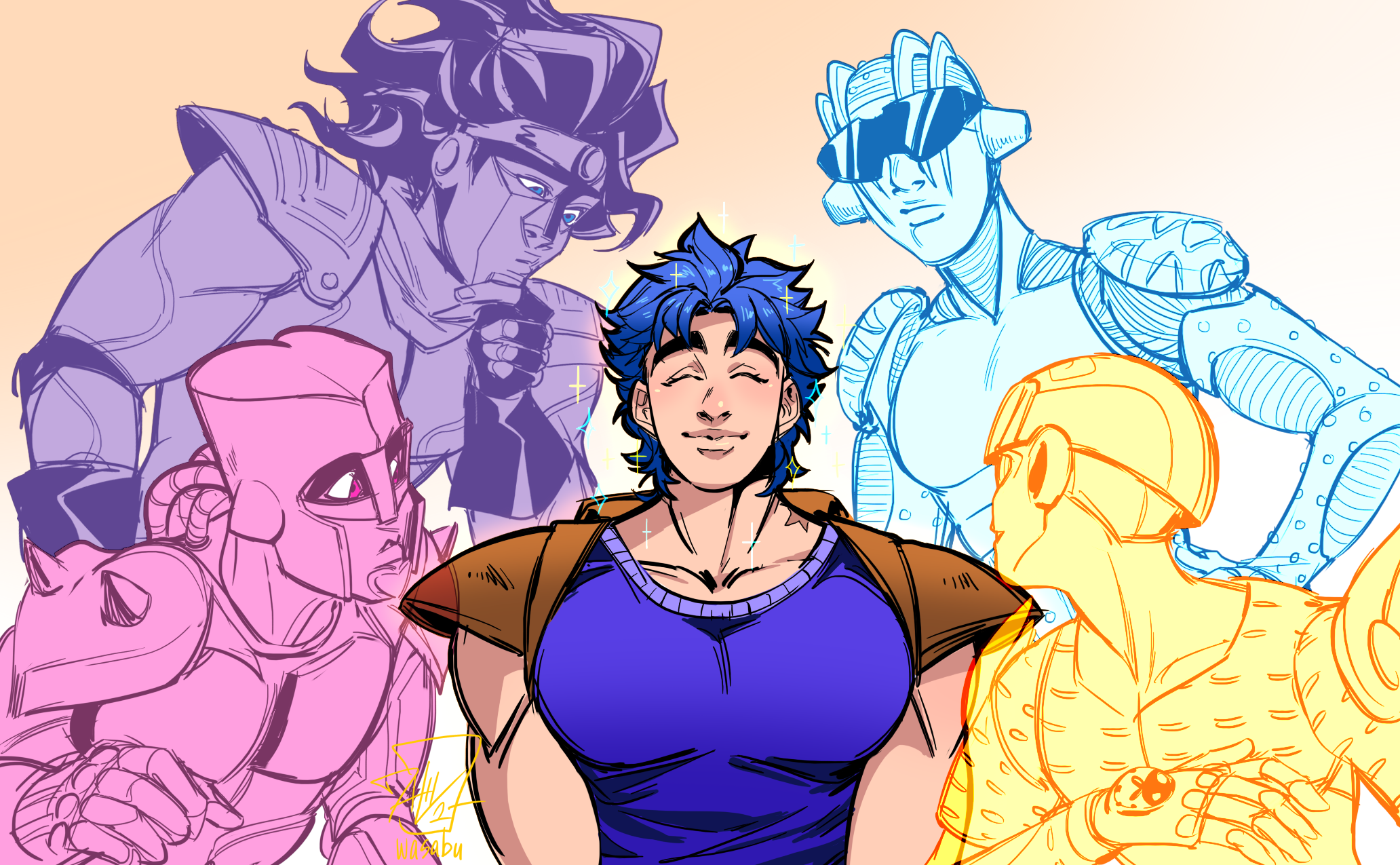 Jonathan Joestar Star Platinum Crazy Diamond Gold Experience And Stone Free Jojo No Kimyou Na Bouken And 5 More Drawn By Wasabu Danbooru Maybe there is a little too much prynce in this josuke (?) i tried to use a specific color palette inspired by coolors.co ,funny illustration besides the final version i also show you the one without colors. jonathan joestar star platinum crazy
