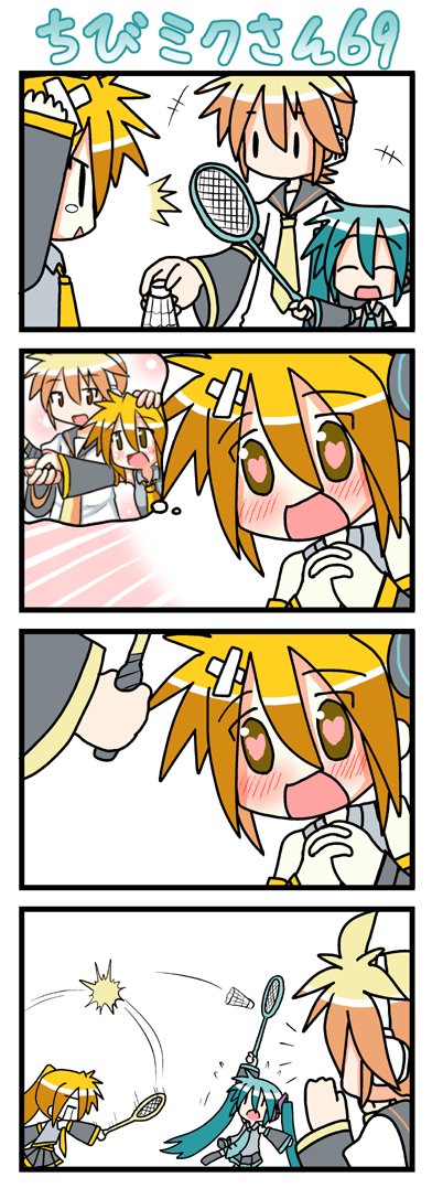 |_| 2girls 4koma akita_neru badminton blush chibi chibi_miku comic hatsune_miku heart heart-shaped_pupils kagamine_len minami_(artist) multiple_girls silent_comic vocaloid