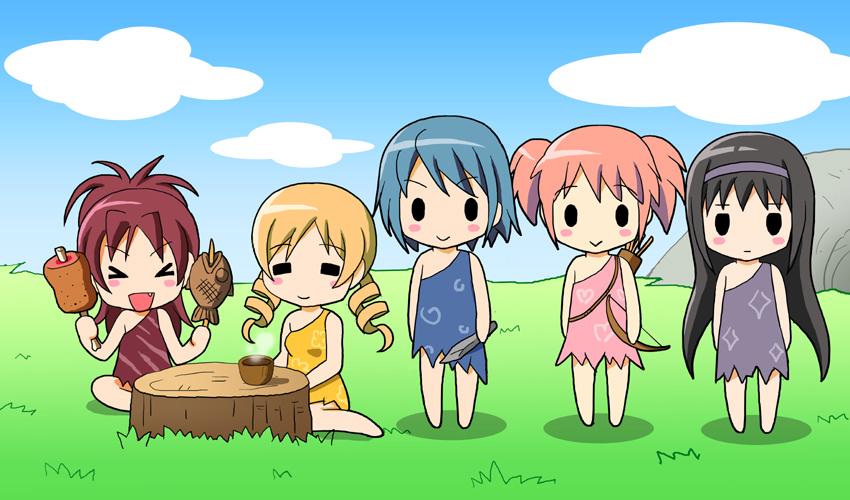 akemi homura, kaname madoka, miki sayaka, sakura kyouko, and tomoe mami (mahou shoujo madoka magica) drawn by shian (my lonly life.)