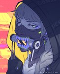 1girl bangs blunt_bangs braid close-up cyberpunk cyborg face face_mask grey_hair hair_over_shoulder hood hood_up koyorin long_hair looking_at_viewer mask mouth_hold multicolored multicolored_eyes original purple_eyes signature