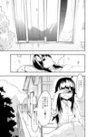 1girl alternate_costume comic contemporary culter greyscale hakurei_reimu long_hair monochrome no_hat no_headwear touhou translated waking_up