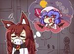 2girls :d =_= animal_ear_fluff animal_ears bangs bat_wings blue_hair brooch brown_hair chibi closed_eyes cloud commentary dress eyebrows_visible_through_hair face_mask fang full_moon hair_between_eyes hand_up hat hat_ribbon imaizumi_kagerou jewelry long_hair looking_at_viewer mask mob_cap moon multiple_girls open_mouth outline pink_dress pink_headwear red_eyes red_ribbon remilia_scarlet ribbon short_hair smile squiggle thought_bubble touhou upper_body white_dress white_outline wings wolf_ears wool_(miwol) wrist_cuffs