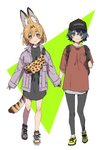 2girls :3 alternate_costume animal_ear_fluff animal_ears backpack bag bangs black_eyes black_gloves black_hair black_legwear blonde_hair casual commentary_request extra_ears eyebrows_visible_through_hair full_body gloves hair_between_eyes hat holding_hands holding_strap jacket kaban_(kemono_friends) kemono_friends leggings long_sleeves looking_at_viewer multiple_girls print_bag red_shirt serval_(kemono_friends) serval_ears serval_print serval_tail shirt short_hair simple_background sleeves_past_wrists smile sumida00rio tail white_background yellow_eyes