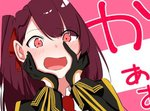 1girl bangs blazer blush breasts commentary_request embarrassed eyebrows_visible_through_hair girls_frontline gloves hair_ribbon half_updo hands_on_own_face ichiki_1 jacket large_breasts long_hair looking_at_viewer lowres necktie one_side_up open_mouth purple_hair red_eyes red_neckwear ribbon shirt solo very_long_hair wa2000_(girls_frontline)