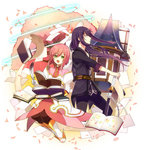 1boy 1girl belt black_hair book boots dress estellise_sidos_heurassein feathers gloves green_eyes highres jacket long_hair pants pink_hair quill sanae_(artist) short_hair smile sword tales_of_(series) tales_of_vesperia weapon yuri_lowell