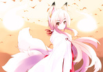 1girl animal_ears colorized fox_ears japanese_clothes multiple_tails original smile solo tail yume_shokunin
