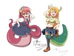 2017 2girls ;d blonde_hair blush bow breasts cosplay costume_switch crossover dragon dragon_girl dragon_horns dragon_tail eyebrows_visible_through_hair fang frilled_gloves frilled_sleeves frills front-tie_top gloves hair_between_eyes hair_ornament hairclip happy highres horns kobayashi-san_chi_no_maidragon lamia long_hair long_tail maid maid_headdress midriff miia_(monster_musume) miia_(monster_musume)_(cosplay) miniskirt monster_girl monster_musume_no_iru_nichijou multicolored_hair multiple_girls one_eye_closed open_mouth orange_eyes orange_hair pleated_skirt pointy_ears puffy_short_sleeves puffy_sleeves red_bow red_hair scales shirt shoes short_sleeves simple_background skirt slit_pupils smile snake_tail source_request tail teeth tied_shirt tooru_(maidragon) tooru_(maidragon)_(cosplay) w white_background white_gloves wulfsenn yellow_eyes