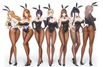 6+girls animal_ears aqua_eyes ass bangs bare_shoulders black_gloves black_hair black_leotard blonde_hair blue_eyes breasts brown_eyes brown_hair bunny_ears bunny_tail bunnysuit cleavage collarbone commentary covered_navel covered_nipples cropped_jacket damegane dark_skin detached_sleeves elbow_gloves eyebrows_visible_through_hair fake_animal_ears full_body gloves grey_hair hand_on_hip high_heels highres jacket large_breasts leotard long_hair looking_at_viewer multiple_girls open_clothes open_jacket original pale_skin pantyhose purple_eyes purple_hair red_eyes short_hair simple_background smile standing strapless strapless_leotard tail white_background white_gloves wrist_cuffs yellow_eyes