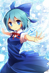 1girl blue blue_eyes blue_hair bow cirno dress hair_bow ice ice_wings kohaku. neck_ribbon outstretched_arms ribbon short_hair smile solo touhou wings