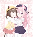 2girls :d ;d absurdres animal_ear_fluff animal_ears azur_lane bangs beret black_bow black_headwear black_skirt blush bow cat_ears cat_girl cat_tail closed_eyes collared_shirt commentary_request ears_through_headwear eyebrows_visible_through_hair frilled_sleeves frills hair_between_eyes hair_bow hat highres jacket kisaragi_(azur_lane) lifebuoy_hair_ornament long_hair long_sleeves multiple_girls mutsuki_(azur_lane) neck_ribbon one_eye_closed one_side_up open_mouth pantyhose pink_hair pleated_skirt purple_eyes red_bow red_ribbon red_skirt remodel_(azur_lane) ribbon roido_(taniko-t-1218) school_hat shirt short_sleeves short_twintails skirt sleeves_past_wrists smile striped striped_bow suspender_skirt suspenders tail twintails very_long_hair white_legwear white_shirt yellow_headwear yellow_jacket