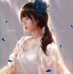 1girl blue_flower bnk48 brown_eyes character_name cherprang_areekul commentary copyright_name flower grey_background hair_flower hair_ornament hair_tie highres long_hair petals real_life realistic solo tollrin-senpai upper_body