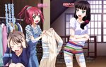 3girls absurdres bangs beige_sweater black_hair blue_hoodie blunt_bangs blush body_blush character_name closed_eyes crossed_arms day green_eyes green_scrunchie hair_ornament hair_over_shoulder hair_scrunchie hands_on_own_head highres holding_sweater indoors kurosawa_dia kurosawa_ruby light_brown_hair long_hair looking_at_another love_live! love_live!_sunshine!! magazine_request mole mole_under_mouth multicolored multicolored_stripes multiple_girls nail_polish off_shoulder official_art open_mouth overalls pink_lips pink_nails pink_scrunchie polka_dot polka_dot_scrunchie ponytail red_hair round_teeth scrunchie shirt short_hair short_shorts shorts siblings sisters striped striped_scrunchie striped_shirt striped_shorts teeth translation_request watanabe_you white_shirt window yamauchi_naoki