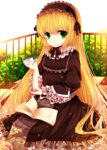 1girl black_dress blonde_hair book bush dress frilled_sleeves frills gosick gothic_lolita green_eyes hairband lolita_fashion lolita_hairband long_hair moseley open_book pipe sitting solo victorica_de_blois