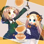 2girls abigail_williams_(fate/grand_order) bangs beret black_bow black_hat blonde_hair blue_eyes bow commentary_request fate/grand_order fate_(series) food forehead gloves hair_bow hat long_hair multiple_girls open_mouth orange_bow overalls pancake parted_bangs paul_bunyan_(fate/grand_order) short_hair sleeves_past_wrists ume_(pickled_plum) yellow_eyes