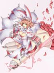 1girl ascot bouquet bra breasts buckle cleavage cleavage_cutout clover dress elphelt_valentine flower four-leaf_clover gloves guilty_gear guilty_gear_xrd hairband highres large_breasts long_dress otsutei pink_hair pink_ribbon puffy_sleeves red_bra red_flower red_ribbon red_rose ribbon rose short_hair shoulder_spikes smile spiked_gloves spiked_hairband spikes thighhighs underwear white_dress white_gloves white_legwear
