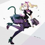 1girl alternate_costume animal_ears ankle_ribbon argyle argyle_legwear beads black_cat_d.va black_dress black_eyes black_footwear black_gloves blonde_hair bodice bow breasts cat_ears cat_tail charm_(object) cleavage d.va_(overwatch) dated dress earrings finger_on_trigger frilled_skirt frills full_body gloves grey_background grin gun hair_bow handgun heart heart_earrings high_heels holding holding_gun holding_weapon jewelry looking_back meco medium_breasts overwatch pantyhose pink_bow pistol puffy_short_sleeves puffy_sleeves purple_legwear ribbon running short_sleeves simple_background sketch skirt smile solo tail twintails weapon white_background