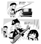 3girls alternate_costume angry assault_rifle commentary_request eyepatch g11_(girls_frontline) girls_frontline gun h&k_hk416 hk416_(girls_frontline) instrument jacket kemejiho keytar m16a1_(girls_frontline) multiple_girls music piano playing_instrument rifle teaching thumbs_up translation_request weapon