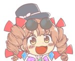 1girl black_headwear blush bow brown_hair commentary dot_nose drill_hair earrings eyewear_on_head gem gyate_gyate hair_bow hat hat_bow hat_ribbon ikiyouz jewelry multiple_hair_bows necklace open_mouth red_bow ribbon solo sunglasses top_hat touhou transparent_background twin_drills v-shaped_eyebrows white_bow white_ribbon yellow_eyes yorigami_jo'on