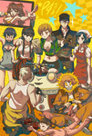 3boys 6+girls >_< amagi_yukiko apron baseball_cap bikini black_hair blonde_hair blue_hair blush bowl breasts brown_hair chopsticks cleavage cleavage_cutout closed_eyes clothes_writing crossed_arms doujima_nanako eating electrocution embarrassed everyone expressionless fingerprint food food_delivery_box gameplay_mechanics glasses grey_hair gyuudon hair_between_eyes hair_ornament hanamura_yousuke hat head_scarf highres hips jacket kneeling kujikawa_rise kuma_(persona_4) legs long_hair looking_at_viewer mechanization microphone midriff multiple_boys multiple_girls nakamura_aika narukami_yuu navel one_eye_closed open_mouth pants persona persona_4 pointing robot satonaka_chie serious shirogane_naoto shoes short_twintails sitting smile standing sweatdrop swimsuit tank_top tatsumi_kanji tears through_screen toolbox top_wo_nerae! tripping twintails vinhnyu wrench zipper