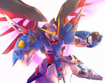 clenched_hands destiny_gundam glowing glowing_eyes gundam gundam_build_fighters gundam_build_fighters_try gundam_seed gundam_seed_destiny mecha mechanical_wings no_humans solo tamago_tomato wings