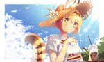 1girl :/ absurdres adapted_costume animal_ears animal_ears_(artist) bangs blonde_hair blue_sky bow bowtie cake cloud collared_shirt commentary day ears_through_headwear flower food food_request fork hair_between_eyes hat hat_flower highres japari_symbol kemono_friends lens_flare looking_at_viewer outdoors plate print_neckwear serval_(kemono_friends) serval_ears serval_print serval_tail shirt short_hair short_sleeves sky solo straw_hat sunlight tail white_shirt yellow_eyes