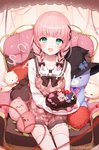 1girl a20_(atsumaru) aqua_eyes bangs black_ribbon braid cake collarbone copyright_request eyebrows_visible_through_hair food fruit hair_ribbon heart heart_print highres holding holding_plate long_sleeves looking_at_viewer medium_hair official_art pink_hair plate ribbon sitting smile solo strawberry stuffed_animal stuffed_toy teddy_bear thighhighs twin_braids valentine white_legwear